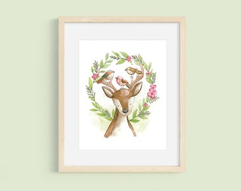 Deer Bird Flower Print, Woodland Art, Watercolor Woodland, Nature Inspired Art, Baby Shower Gift, Gender Neutral Nursery Print, Sandy Lutz