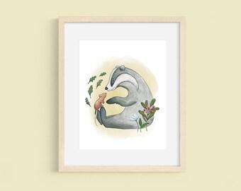 Badger Print, Mouse Illustration, Woodland Animal Watercolor Print, Nursery Print, Cute Kids Illustration, Made In Canada, Playroom Decor
