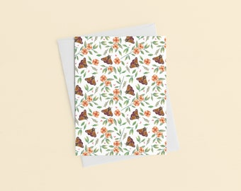 Moth Pattern Card, Birthday Card, Thank You Card, Teacher Gift, Watercolor Print, Gift For Her, Botanical Art Print, Graduation Card