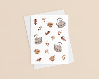 Tea Time Card, Greeting Card Made In Canada, Mothers Day Gift, Teacher Gift, Thank You Card, Get Well Soon, I Think Of You Card, Sandy Lutz