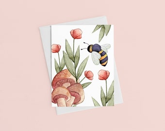 Bee Mushroom Card, Bee Birthday Card, Thank You Card, Teacher Gift, Mother's Day Card, Watercolor Flower, Watercolor Card, Gift For Her
