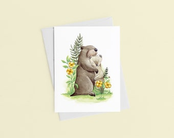 Marmot Weasel Greeting Card, Love Card, Woodland Art, Gift For Lover, Sympathy Card, Get Well, Watercolor Print, Made In Canada, Sandy Lutz