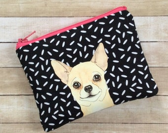 Gift For Her Fabric Card Holder Dog Change Purse Chihuahua Gift Dog Lover Gift Small Zipper Pouch Chihuahua Coin Pouch