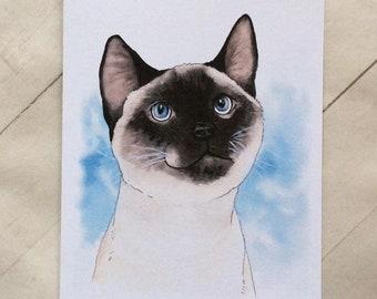 SIAMESE CAT CARD >> Siamese Cat Greeting Card, Cat Greeting Card, Cat Thank You Card, Cat Birthday Card, Blank Card, Cat Lover Card