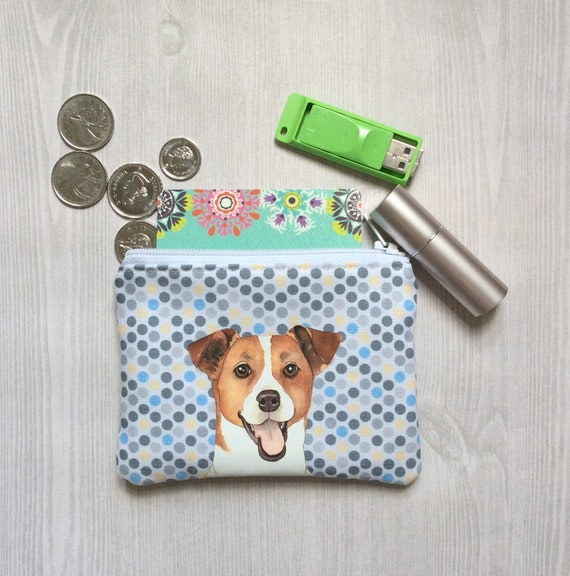 a76def7854b5 Jack Russell Terrier Coin Purse, Dog Lover Gift, Jack Russell Pouch, Fabric  Card Holder, Small Zipper Pouch, Gift For Her