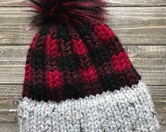 Womens Chunky Plaid Knit Hat    Chunky Knit Buffalo Plaid Toque    Double  Thick Brim Hat with Faux Fur Pom    Plaid Knit Hat c387735c6e