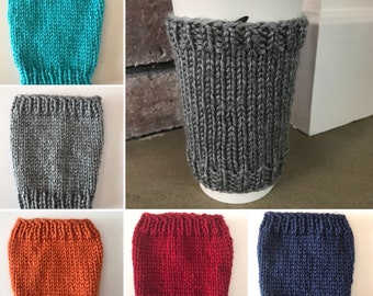 """Knit Coffee Cup Cozy// Knit Coffee Cup Sleeve // Reuseable Coffee Cozy // Solid Colors // 4.5"""" tall"""