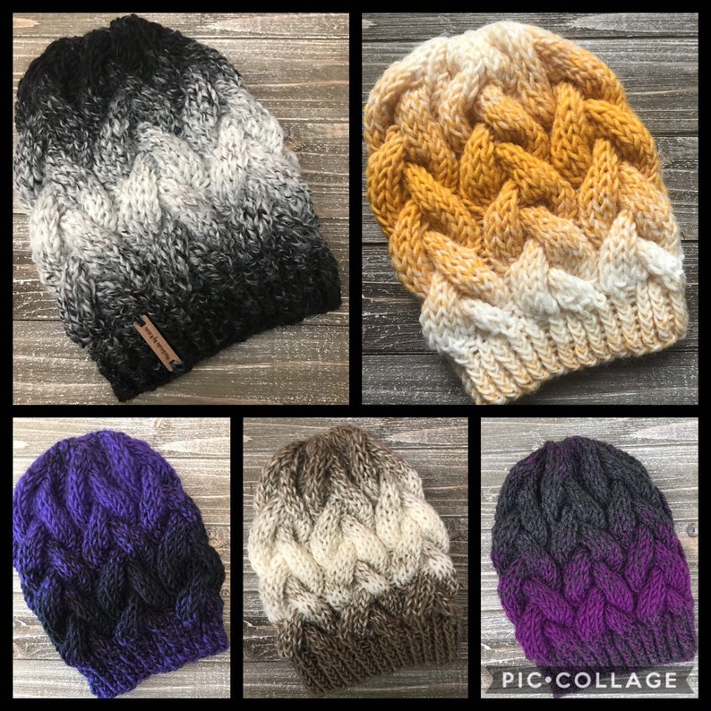 9045e1dc38c Chunky Braided Cable Knit Hat    Chunky Knit Hat    Braided Cable Beanie     Ombre Colors    16