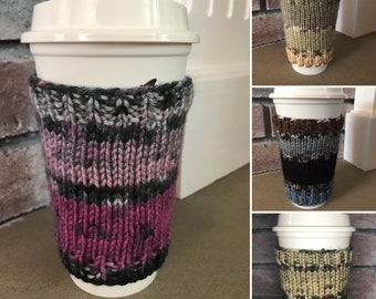 """Knit Coffee Cup Cozy// Knit Coffee Cup Sleeve // Reuseable Coffee Cozy // Variegated Colors // 4.5"""" tall"""