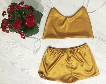 Women s satin pajamas set Pajama Orange Pajama Silk  2e7d3e93a