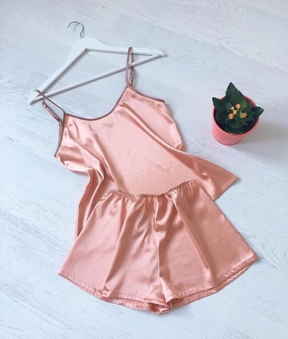 Women s satin pajamas set Pajama Orange Pajama Silk  3f658b8acb