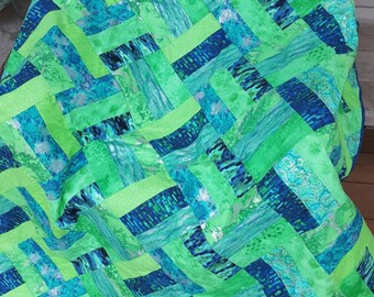 Beautifully Green Jelly Roll quilt.