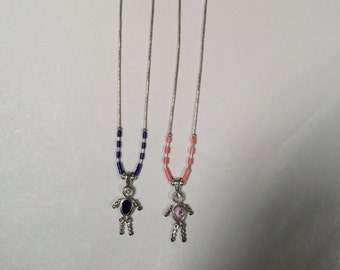 Blue and Pink Crystal Beaded Boy/Girl Necklace