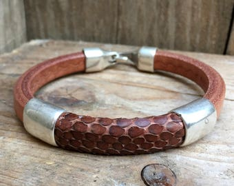 Snake bracelet men, Men leather bracelet, brown leather bracelet, men leather jewelery, men gift idea, men , personalized, Cuff bracelet,