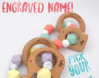 Personalized ENGRAVED & CUSTOMIZED Silicone Teether with Wooden Animal Ring | Teether | Choose Your Own | Teething Baby | Colors | Hexagon |