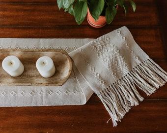 Mexican Table Runner/Neutral/Macrame/Beach Wedding/Boho Wedding/Summer/Fiesta Decor/Cotton/Cream/Vintage/Oaxaca/Fair Trade/Ethical