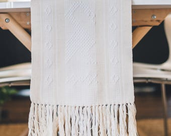 Neutral neutral and white Mexican table Runner for weddings, summer decor, boho macrame style from Oaxaca perfect for housewarming gifts