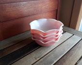 Vintage Hazel Atlas Crinoline Ripple Ruffled Pink Soup Cereal Dessert Bowls 4 items Hazel Atlas Crinoline 4 bols rose