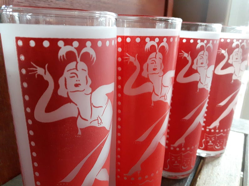 Vintage Frosted Tom Collins Red Glasses Charleston Dancers 4 image 0