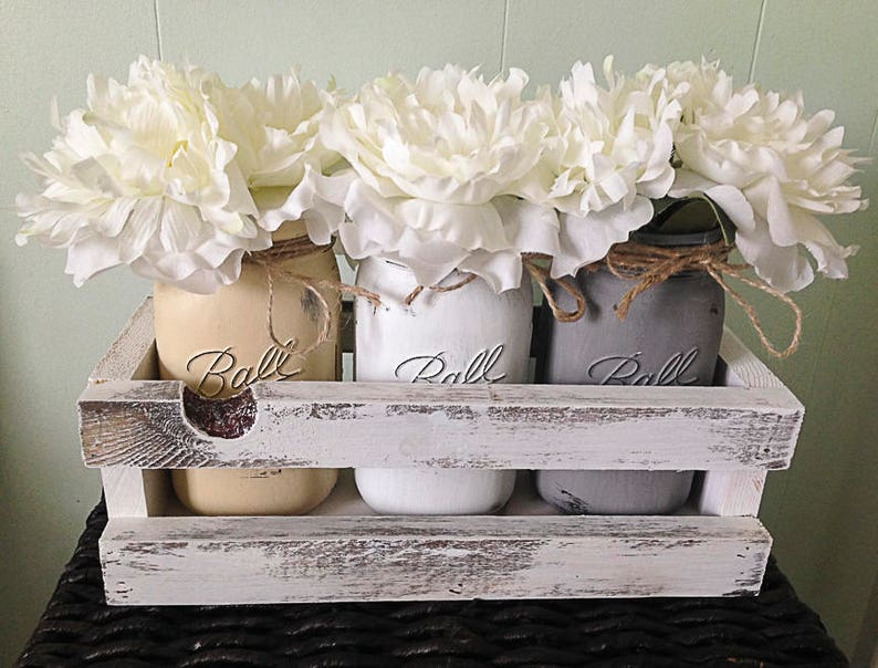 Neutral tone Mason jar centerpiece farmhouse decor rustic image 0