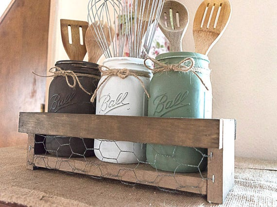 Farmhouse Mason jar kitchen utensil holder, Rustic kitchen decor, Kitchen  storage