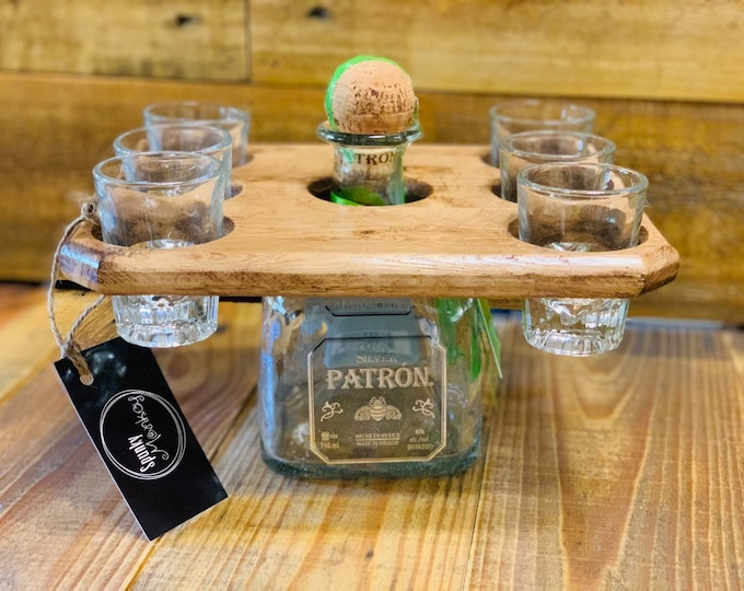 Shot Glass Caddy  (6 glass) Reclaimed Wood