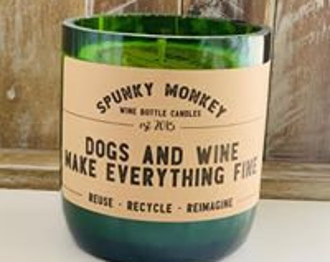 DOGS AND WINE Wine Bottle Candle