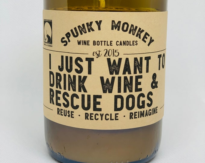RESCUE DOGS Wine Bottle Candle