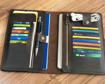 a40bdcd75edc Leather holder travel wallet Passport holder travel Family holder travel  Ticket wallet Travel holder document Mens passport wallet leather