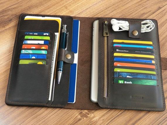 e3e231c28a7e Travel wallet organizer Leather passport wallet Mens holder travel document  wallet Passport travel wallet Personalized documen holder wallet