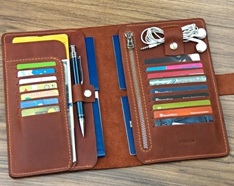 family wallet travel organizer Leather passport wallet Family travel organizer Leather boarding pass holder Family passport holder travel