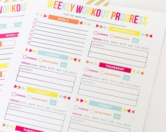 Editable Workout Schedule and Progress Chart