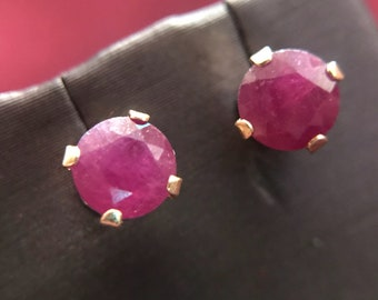 14k Yellow Gold and Pigeon Blood Ruby Earrings
