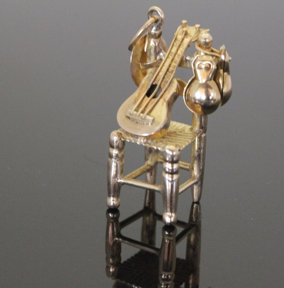 14k Gold Chair and Guitar Pendant