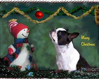 Holiday Boston Terrier  Note Cards