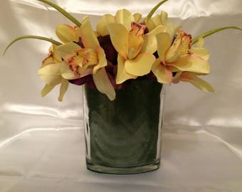 Spring Flowers, Summer Flowers, Yellow Orchids, Orchids and Hydrangeas, Orchid Centerpiece, Yellow Orchid Centerpiece, Silk Orchids Florals