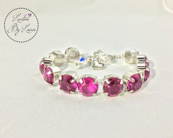 "FUCHSIA FEVER Bracelet: 10MM Chatons, Nickel Plated *Swarovski Crystallized Elements* ""Luxstone By Lauren"""