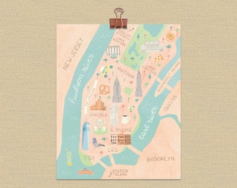 picture about Printable Maps of Manhattan identified as Manhattan map print Etsy