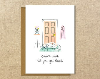 Miss You Cute Dog Card | Illustrated Greeting Card | A2 Size