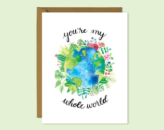 You're My Whole World | A2 Illustrated Love Card