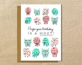 Cute Owl Birthday Card | A2 Illustrated Greeting Card