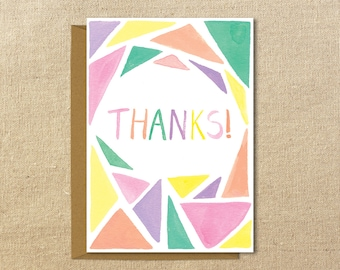 Thank You Triangles Card | Illustrated  Greeting Card | A2 size