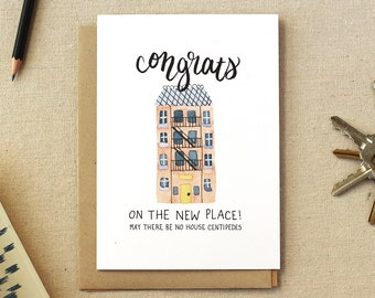Housewarming Illustrated Card: Apartment | A2 Size