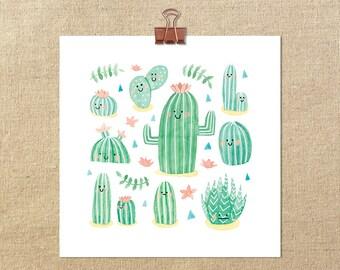 "Happy Cactii // 8x8"" Giclée Art Print"