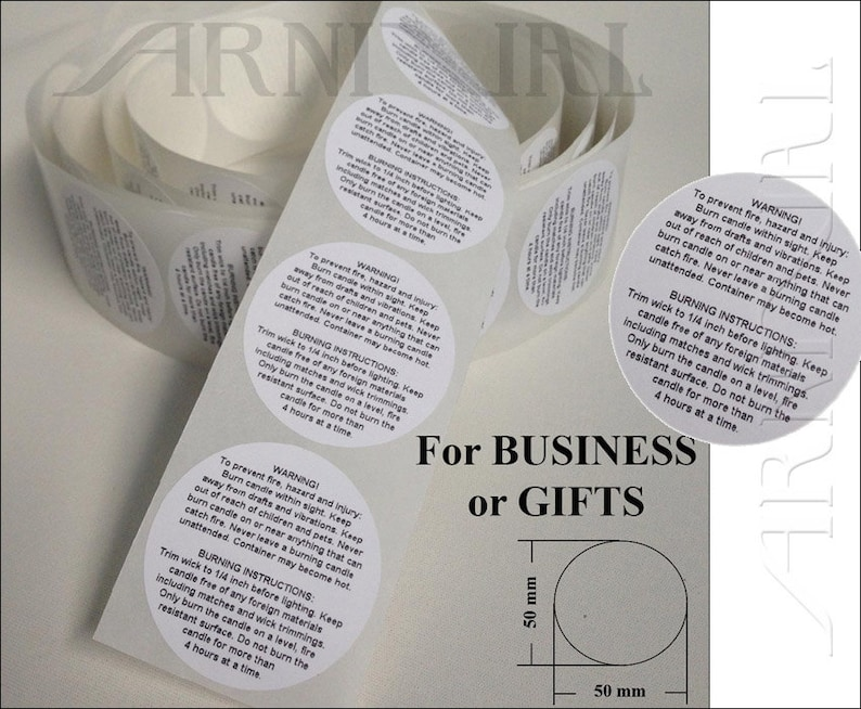 5cm round General WARNING LABELS for CANDLE making all crafts image 0