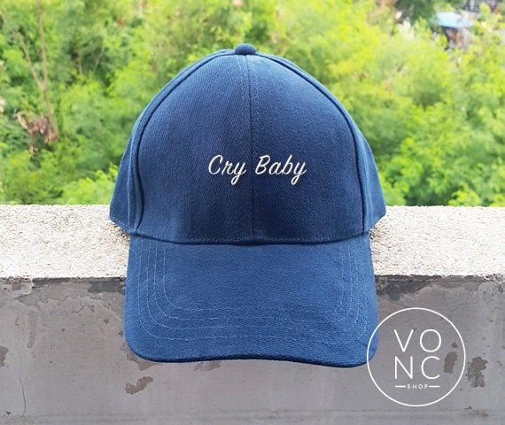 a7933643955 Items similar to Cry baby Baseball Caps Quotes Caps Funny Slogan Hats  Embroidery Unisex Baseball cap on Etsy