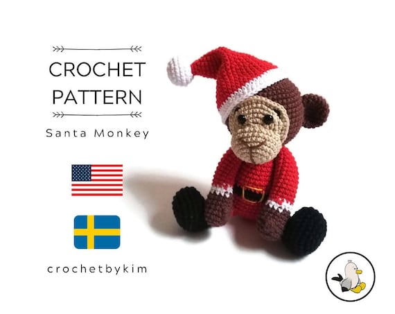Amigurumi Crochet Pattern - Santa monkey - crochet christmas pattern - safari animals - jungle - zoo - monkey toy - diy - pdf