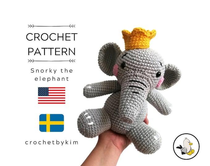 Crochet pattern - snorky the elephant - amigurumi pattern - amigurumi elephant - zoomigurumi - crochet animal - stuffed toy - pdf