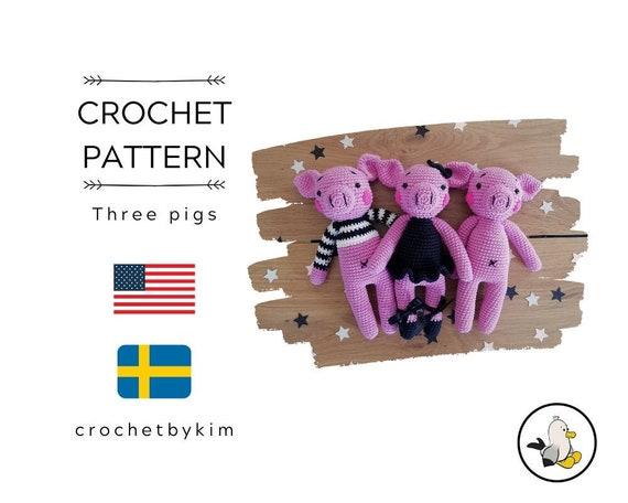 Crochet pattern  - 3 in 1 - amigurumi pig - stuffed pig - handmade piglet - doll - ballerina - striped shirt - diy - animal