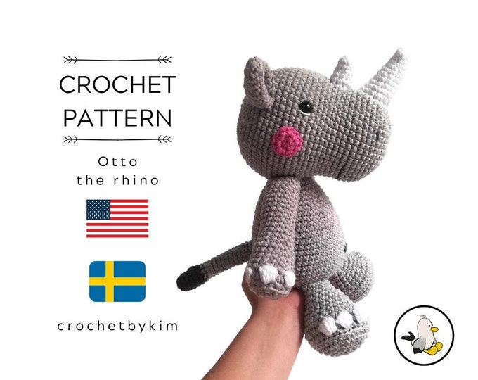 AMIGURUMI PATTERN • Otto the rhino • crochet animal pattern • crochet rhinoceros • african animal • wild animal • safari • crochetbykim